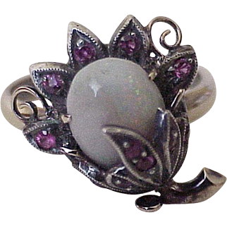 Opal & Ruby Victorian Era Ring 14k Gold & Sterling Silver, Floral Design