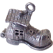Moving Old Woman In Shoe Charm Nursery Rhyme Sterling Silver 1950's