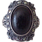 Art Deco Era Ring Sterling Silver, Onyx & Marcasite by Uncas