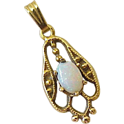 Edwardian Era Petite Opal Pendant 14K Gold - Red Tag Sale Item