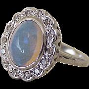 Vintage Crystal Opal & Diamond Ring Platinum circa 1930-40's