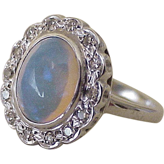 Vintage Crystal Opal & Diamond Ring Platinum circa 1930-40's