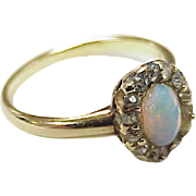 Victorian Ring Natural Opal & Rose Cut Diamonds 14K Gold