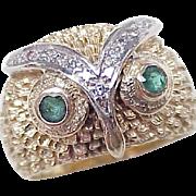 Jeweled Owl Ring 14K Two-Tone Gold Green Tourmaline & Diamond
