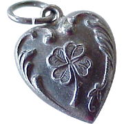 Puffy Heart Vintage Charm Lucky Four-Leaf Clover Sterling Silver 1930-40's