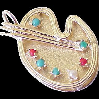 Big Vintage Jeweled Charm Art Palette 14K Gold