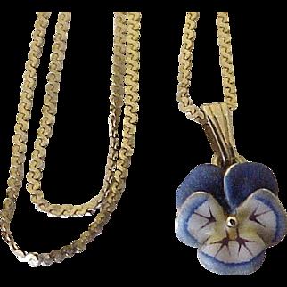 Art Nouveau Pansy Pendant Necklace Colorful Enamel Detail