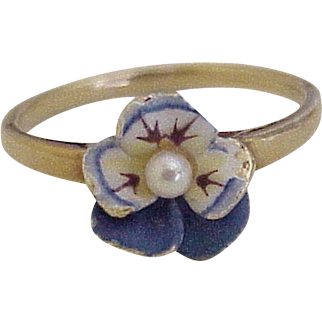 Art Nouveau Pansy Ring Colorful Enamel & Seed Pearl Detail