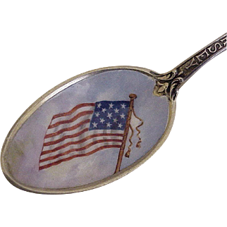 Patriotic Souvenir Spoon Hand Painted Enamel Bowl New Jersey, Gorham