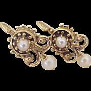 Victorian Revival Vintage Drop Earrings 14K Gold & Cultured Pearl