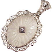 Art Deco Rock Crystal & Diamond Pendant 14K White Gold Filigree