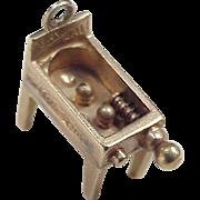 Vintage Pinball Machine Moving Charm 14K Gold circa 1950's