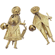 Travel Souvenir Scatter Pins 14k Gold, Ethnic, Peru, Guatemala or Mexican
