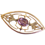 Victorian Era  Brooch / Pin  Amethyst & Seed Pearl 10K Gold