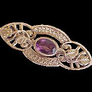 Victorian Era  Brooch / Pin  Amethyst 10K Rose & Green Gold