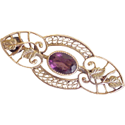Victorian Era  Brooch / Pin  Amethyst 10K Rose & Green Gold