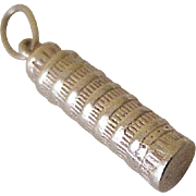 Vintage Leaning Tower of Pisa Charm 14K Gold, Three Dimensional
