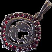 Vintage Bohemian Garnet Zodiac Pisces Pendant 900 Silver CZECH
