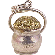 Vintage Pot of Gold Charm, Three Dimensional Sterling Silver