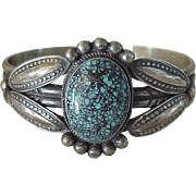 Native American Handcrafted Cuff Bracelet Sterling Silver & Turquoise, P JB signed