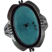 Navajo Crafted Ring Sterling Silver & Turquoise Circa 1980's