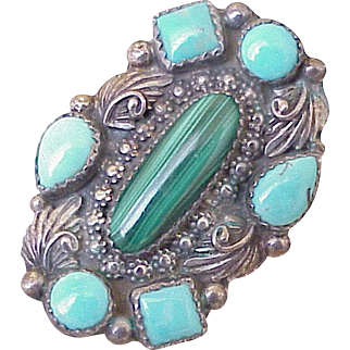 Vintage Navajo Crafted Ring  Turquoise, Malachite & Sterling Silver