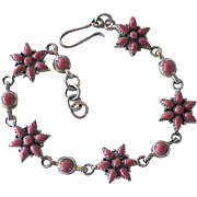 Native American Handcrafted Floral Link Bracelet Sterling Silver & Red Coral