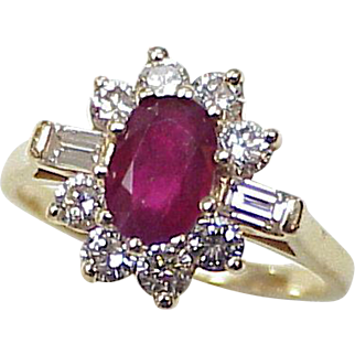 Natural Ruby & Diamond 1.78 TGW Ring 14K Gold circa 1980's