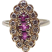 Ruby & Diamond Vintage Ring 14K Two-Tone Gold 1.01 ctgw