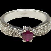 Natural Ruby & Diamond Ring 18K White Gold .95 Total Gem Weight