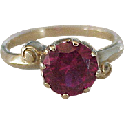 Vintage Ruby Solitaire Ring Lab 2.25 Carat 10K Gold Circa 1940's