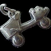 Roller Skate Charm Three-Dimensional Sterling Silver circa 1940's