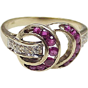 Ruby & Diamond Retro Ring 14K Gold Circa 1940's