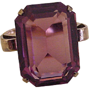 Retro Ring BIG Faux Alexandrite 10K Rose Gold Circa 1950's