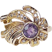 Retro Ring 14k Rose Gold with Amethyst Solitaire and Diamonds