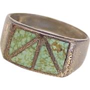 Navajo Crafted Gents Ring Sterling Silver & Turquoise Inlay
