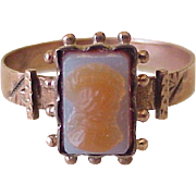 Victorian Era Carved Agate Cameo Ring 9K Rose Gold