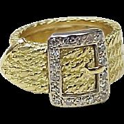 Estate Diamond Buckle / Garter Ring 18K Gold Yellow & White
