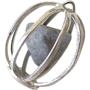 Caged Rock Charm Three-Dimensional Sterling Silver circa 1970's