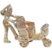 Vintage 14k Gold Charm, Atlantic City Boardwalk Rolling Chair circa 1950-60's Three Dimensional