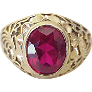 Vintage Ruby Solitaire Ring 3.80 Carat 14K Gold Filigree Setting