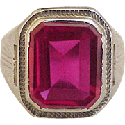 Art Deco Ruby 6.25 Carat Solitaire Ring 14K White Gold
