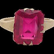 Vintage Solitaire Gemstone Ring, Ruby 6.25 Carat 14K White Gold