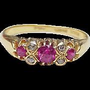 Vintage Ruby & Diamond Ring 18K Gold European Hallmarks