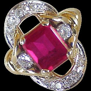 Ruby & Diamond Fashion Ring 14K Two-Tone Gold