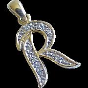 Vintage Letter / Initial R Charm 14k Gold Diamond Accent