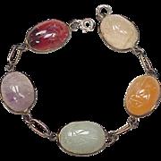 Vintage Colorful Gemstone Scarab Bracelet Sterling Silver circa 1950's