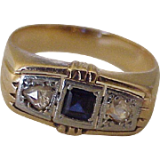 Edwardian Era Ring Sapphire, Rose Cut Diamonds, 14K Gold & Platinum