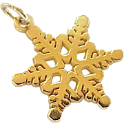 Snow Flake Vintage Charm 14K Gold Three-Dimensional