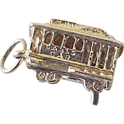 Vintage Moving San Francisco Cable Car Charm 14K Gold Three Dimensional Circa 1960's